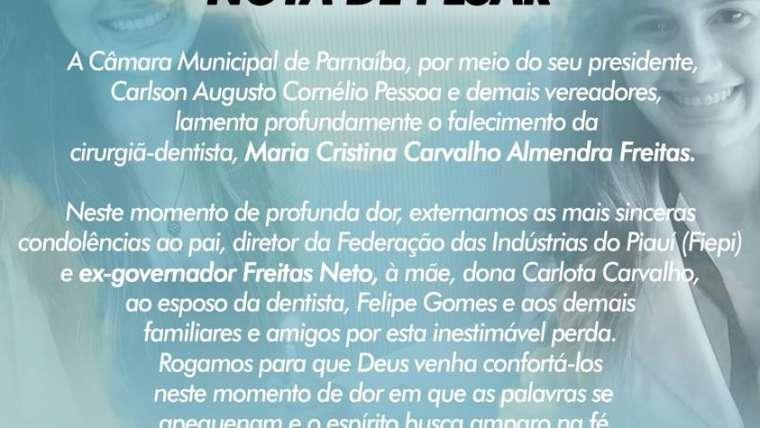 Câmara lamenta a morte de Maria Cristina Carvalho Almendra Freitas